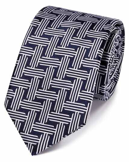 Navy and white silk geometric classic tie
