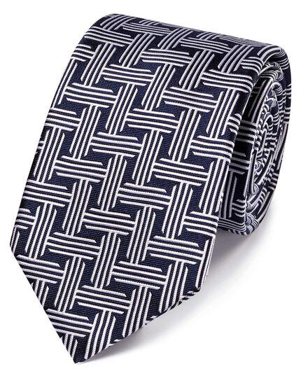 Klassische Krawatte aus Seide mit geometrischem Muster in Marineblau und Weiß