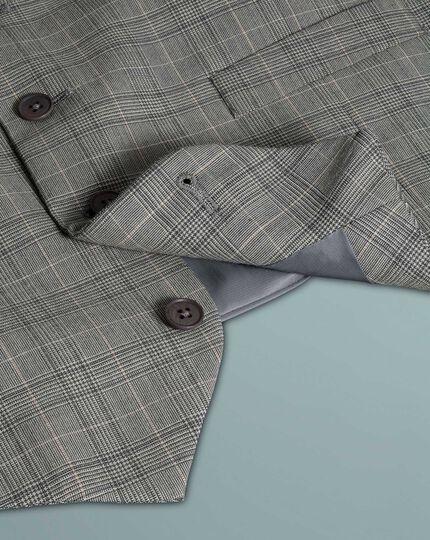 Verstellbare Businessanzug-Weste Panamagewebe mit Prince-of-Wales-Karos in Grau