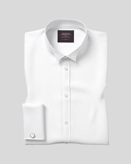 Gala-Hemd mit Flügelkragen und Bieseneinsatz aus Marcella-Waffelmuster  - Weiß