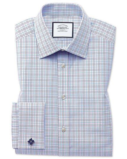 Classic fit purple multi check Egyptian cotton shirt