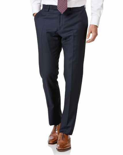 Navy slim fit wool with cashmere Italian suit trousers
