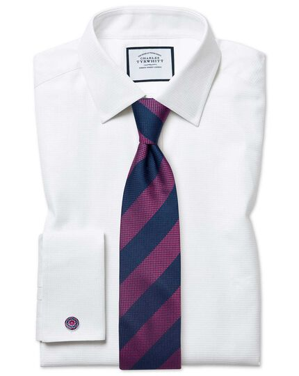Magenta silk multi textured stripe classic tie