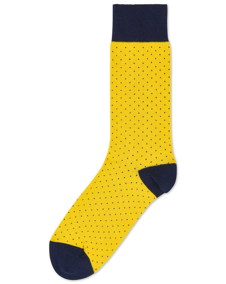 Yellow and navy micro dash socks
