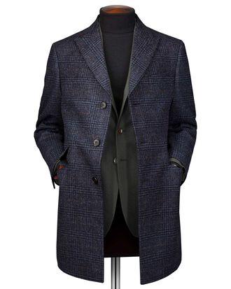 Manteau Epsom bleu marine en laine à carreaux