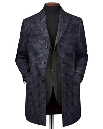 Navy overcheck wool Epsom coat