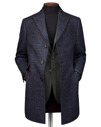 Epsom-Mantel aus Wolle mit Deckkaro in Marineblau