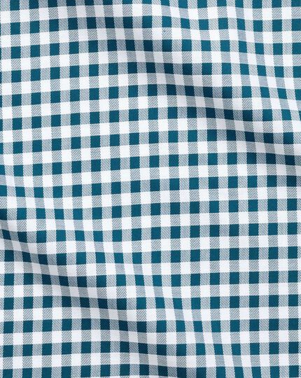 Slim fit non-iron gingham teal shirt