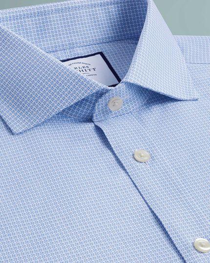 Extra slim fit textured puppytooth sky blue shirt