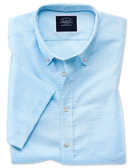 Classic fit sky blue short sleeve gingham soft washed non-iron stretch shirt