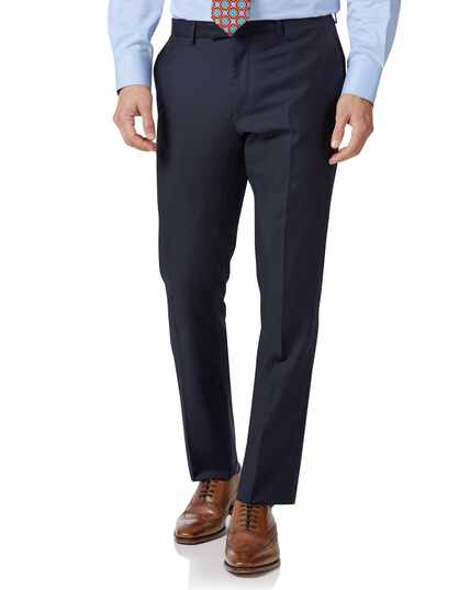 Navy slim fit Italian twill luxury suit trousers