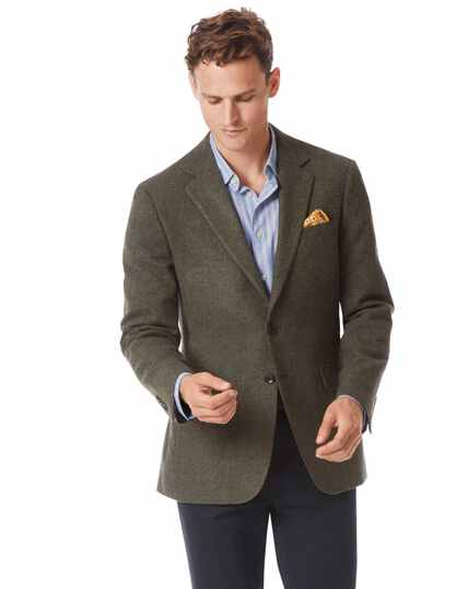 Slim fit green wool jacket