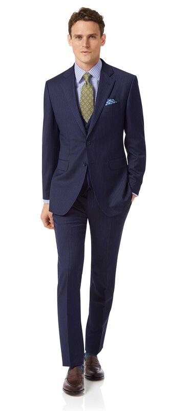 Costume business bleu en twill slim fit à rayures