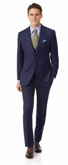 Business-Anzug Slim Fit Twill Streifen Blau