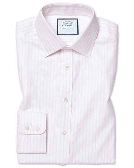 Classic fit brushed-back basketweave pink stripe shirt