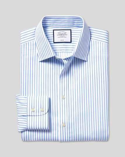 Bügelfreies Twill Hemd mit Kent-Kragen und Streifen - Weiß & Himmelblau