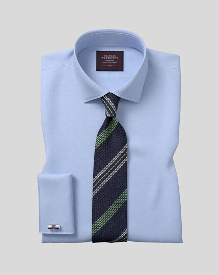 Silk Grenadine Stripe Italian Luxury Tie - Navy & Green