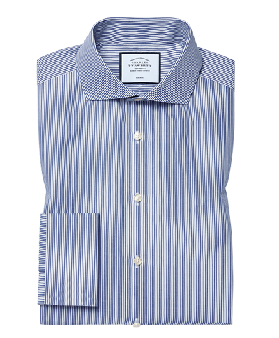 Slim fit spread collar non-iron Bengal stripe navy blue shirt