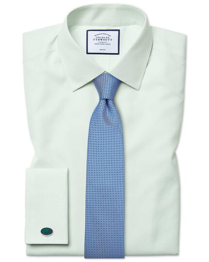 Classic fit non-iron poplin green shirt
