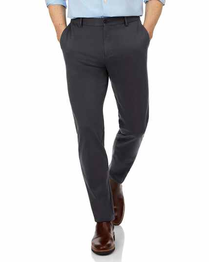 Charcoal slim fit non-iron travel chino