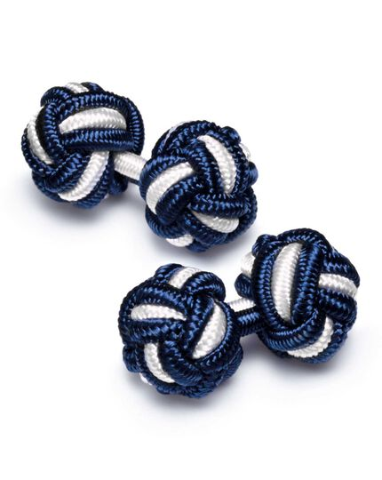 Navy and white knot cufflinks