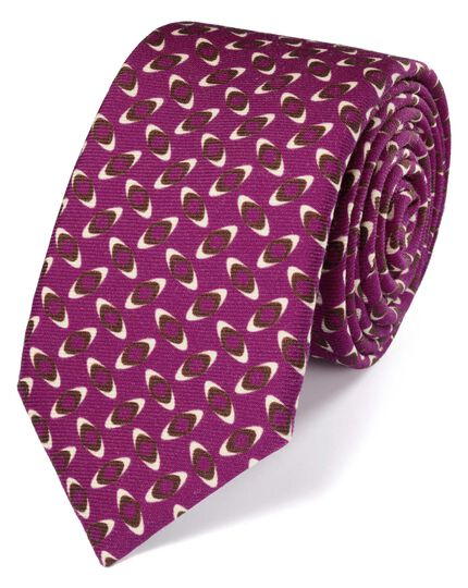 Luxuriöse Krawatte aus Wolle in Beerenrot mit Print