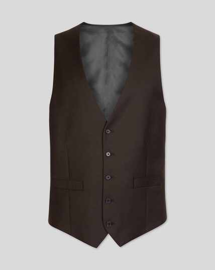 Twill Business Suit Waistcoat - Brown