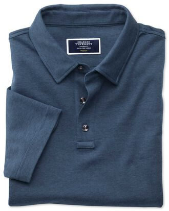 Navy and blue stripe jersey polo shirt