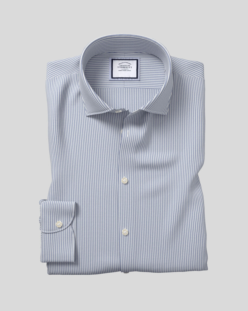 Business Casual Collar Softly Smart Stripe Shirt- Blue