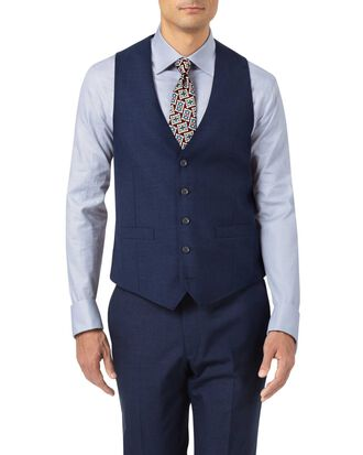 Indigo blue adjustable fit Panama puppytooth business suit vest