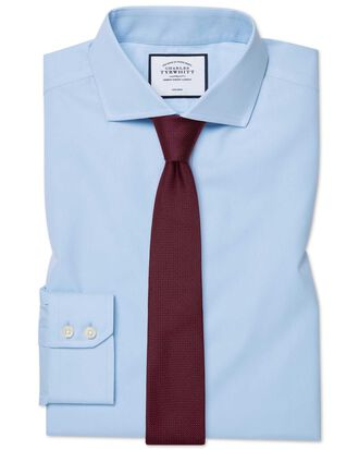 Extra slim fit spread collar non-iron twill sky blue shirt