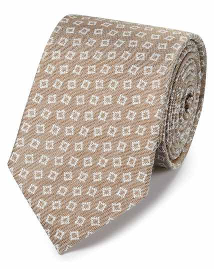 Klassische Krawatte aus Seidenleinen mit Design in Leichtgrau