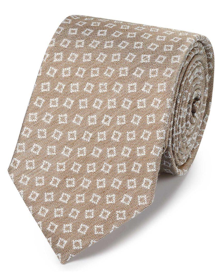 Stone linen silk design classic tie