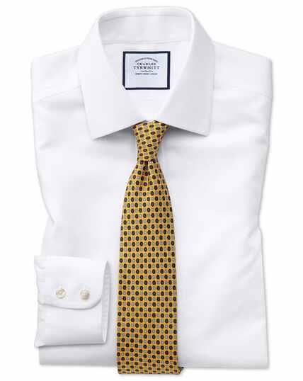 Slim fit non-iron white arrow weave shirt