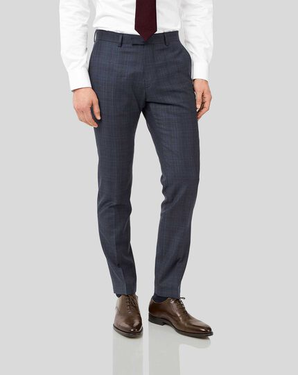 Italian Luxury Twill Check Suit Pants - Blue