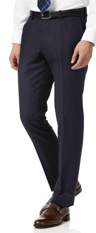 Pantalon de costume business à rayures bleu marine en flanelle slim fit