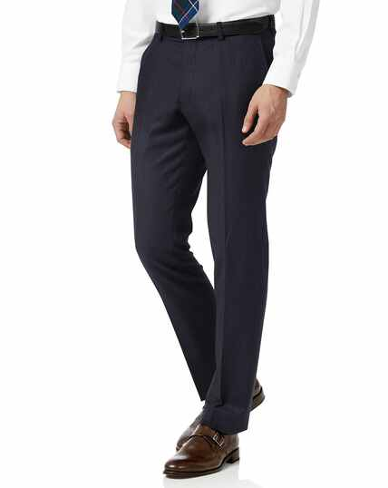 Navy stripe slim fit flannel business suit pants