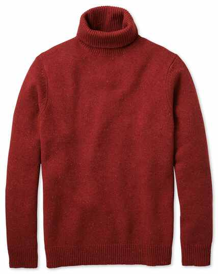 Red roll neck Donegal merino sweater