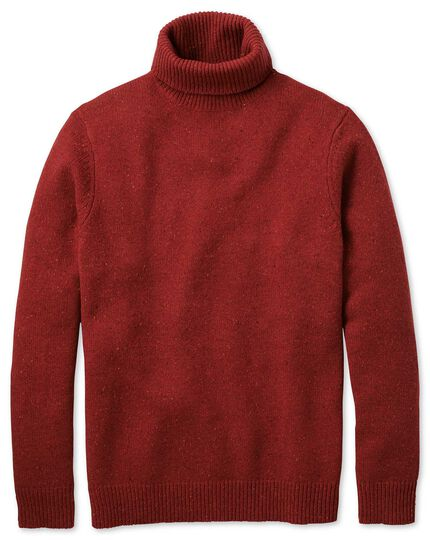 Red roll neck Donegal merino jumper