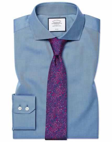 Blauw, strijkvrij keperoverhemd met slanke pasvorm