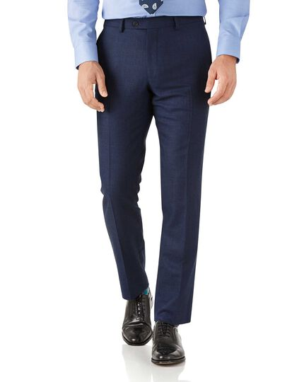 Royal blue slim fit flannel business suit trousers