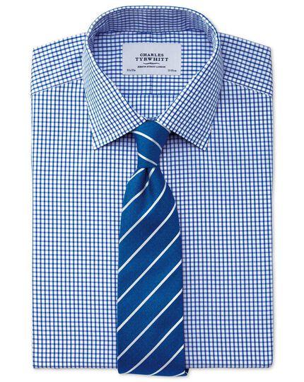 Bügelfreies Extra Slim Fit Hemd in Marineblau mit Gitterkaro