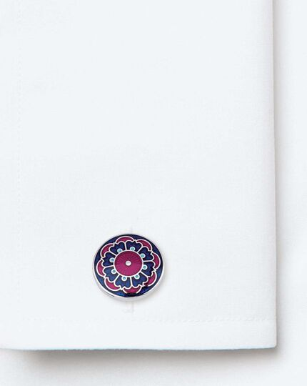 Berry and navy floral enamel cufflinks