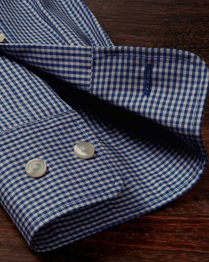 Extra slim fit non-iron poplin blue and grey check shirt