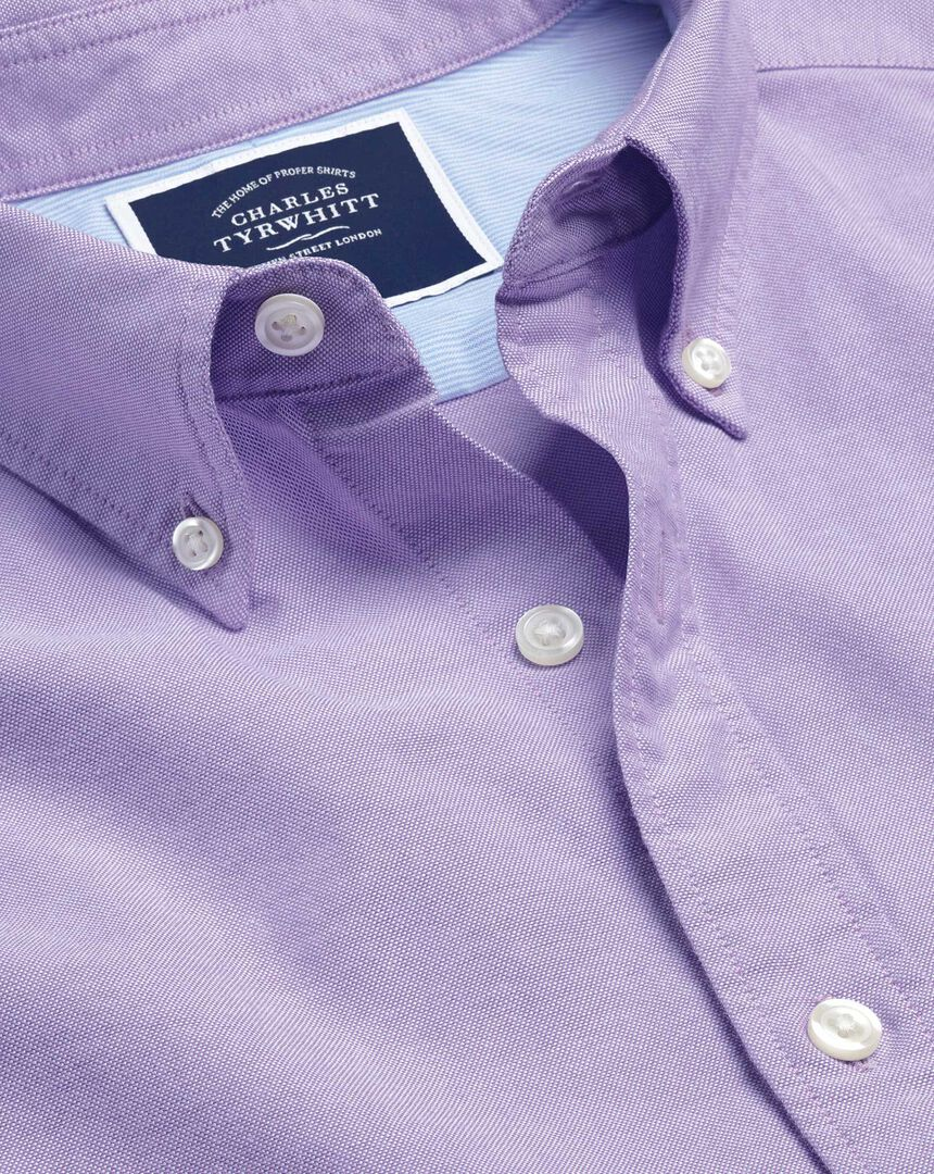 Button-Down Collar Washed Oxford Shirt - Lilac