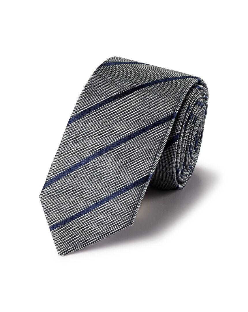 Schmale Krawatte aus Seide mit Streifen - Grau & Marineblau