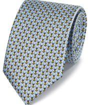 Sky blue bee print classic tie