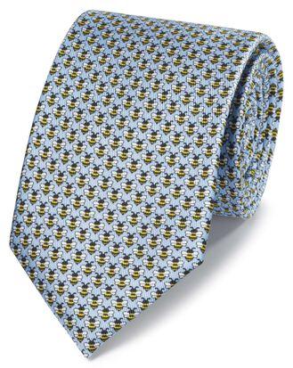 Klassische Krawatte mit Bienenmuster in Himmelblau