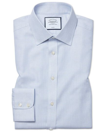 Slim fit non-iron dash weave blue shirt