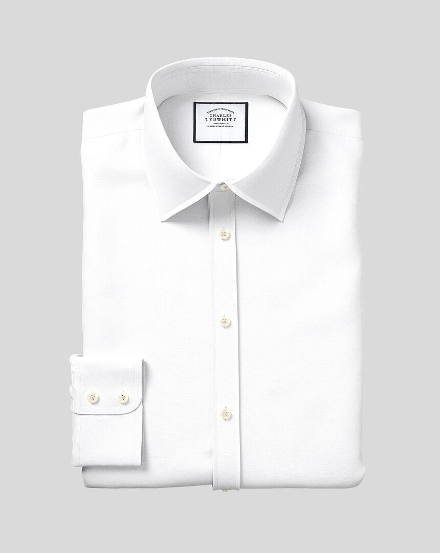 Classic Collar Egyptian Cotton Lattice Weave Shirt - White